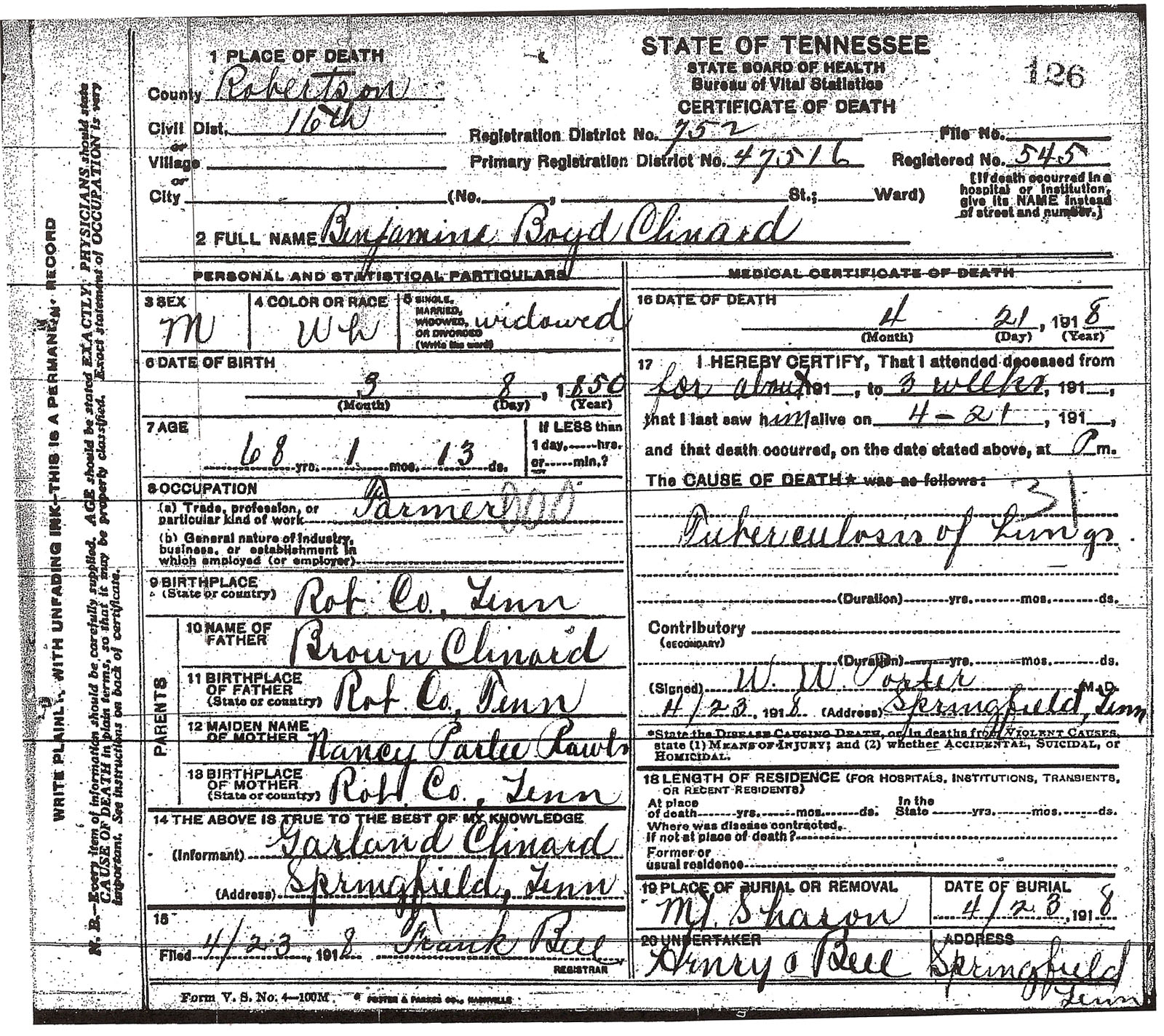 Clinard death certificates robertson county tn busybeetraveler information you can glean from death certificates parents names spouse where they lived cause of death informant doctor date of death and burial xflitez Choice Image