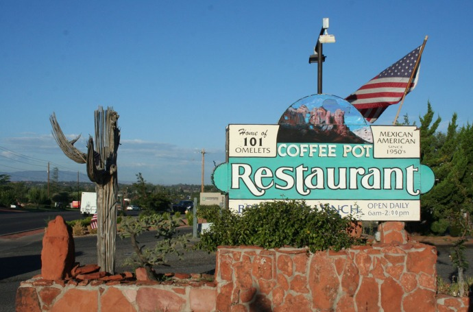 sedona, coffeepot sign