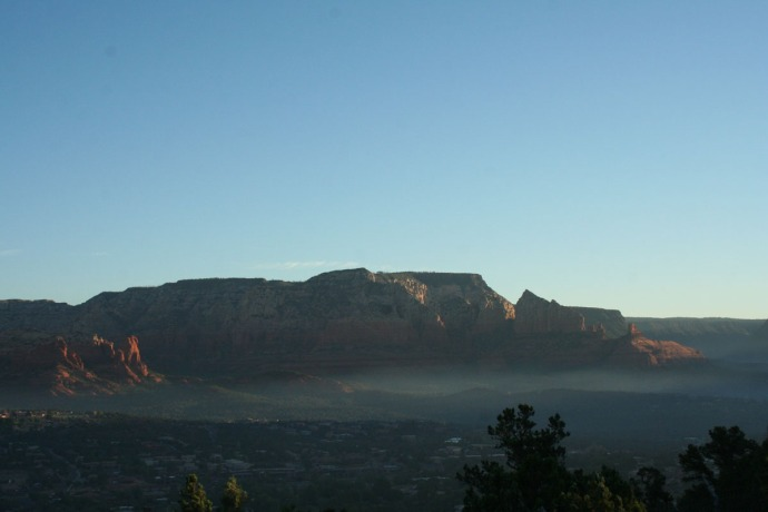 sedona sunrise, fog on valley