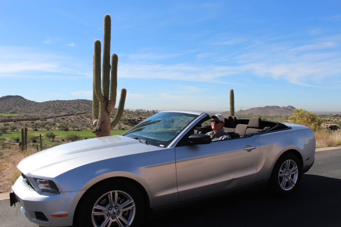 AZ, Phoenix, Wally in convertible