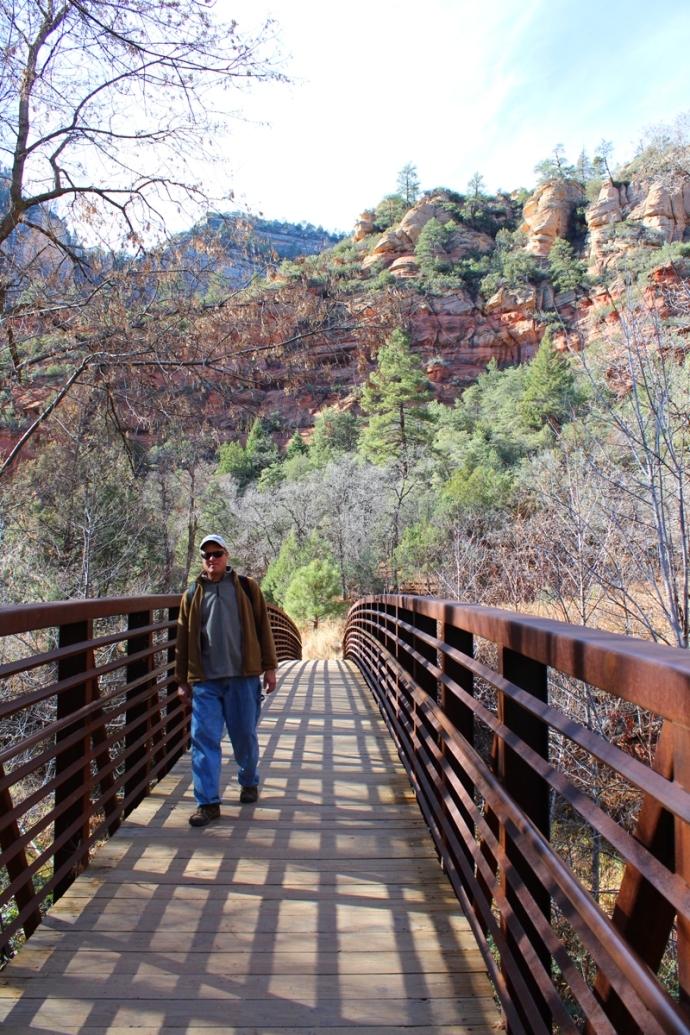 AZ, Sedona, West Fork, Wally on bridge
