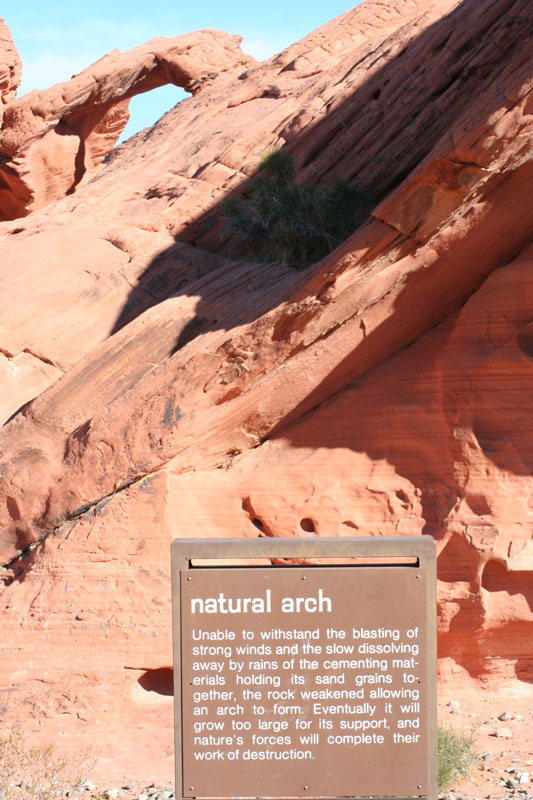 valley of fire natural arch sign
