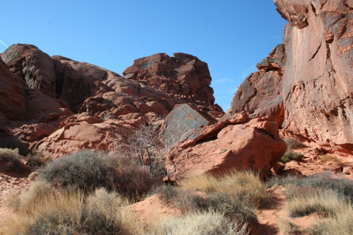 valley of fire rock and brush