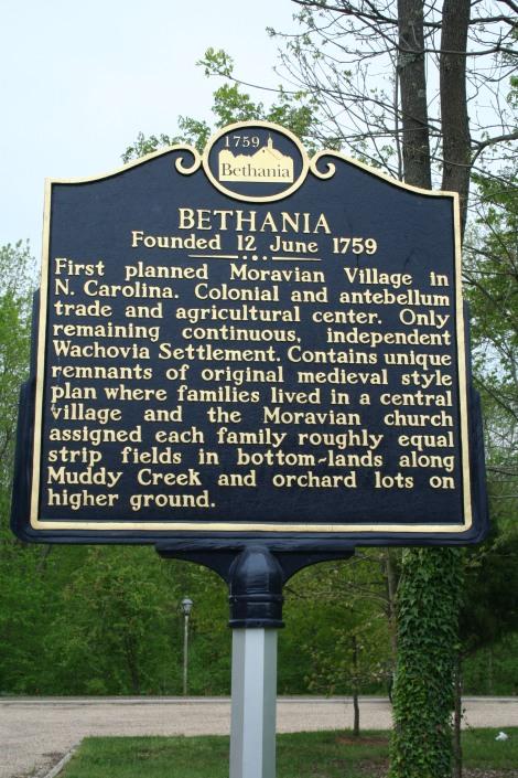 Bethania est 1759 sign