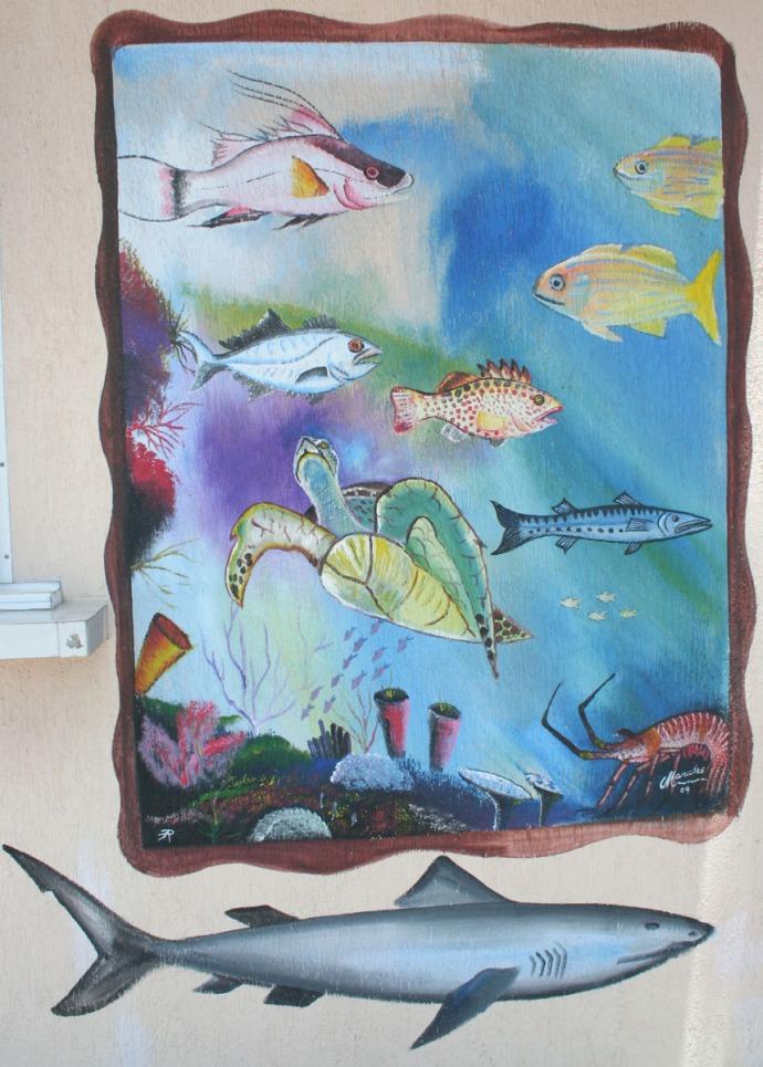 fish market fish mural