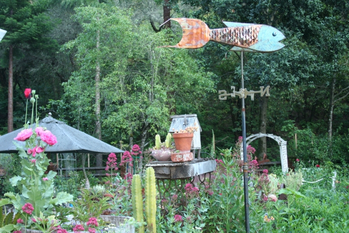 Flowers, fish weathervane