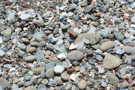 Glass Bch-closeup of pebbles, glass