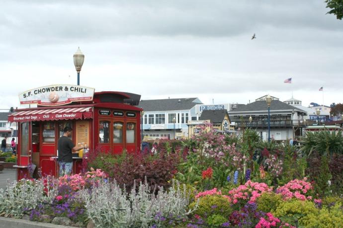SF-Flowers & hotdog stand