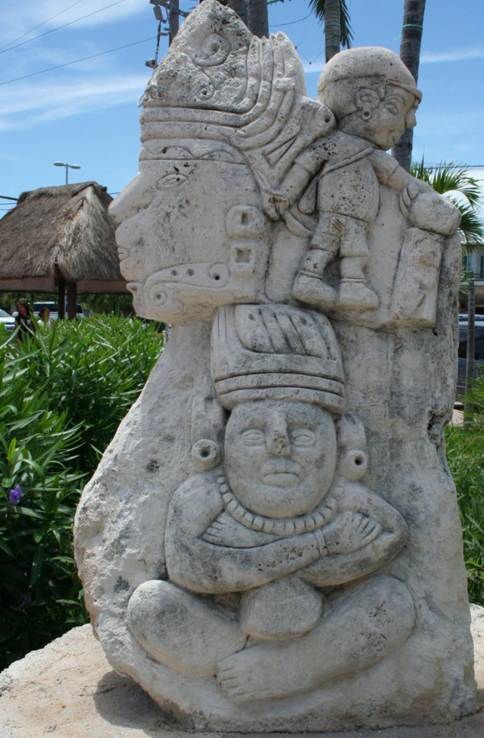 tulum park maya child carving