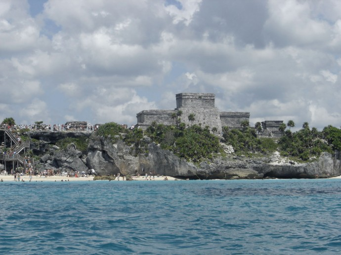 Tulum ruins, hori, from water