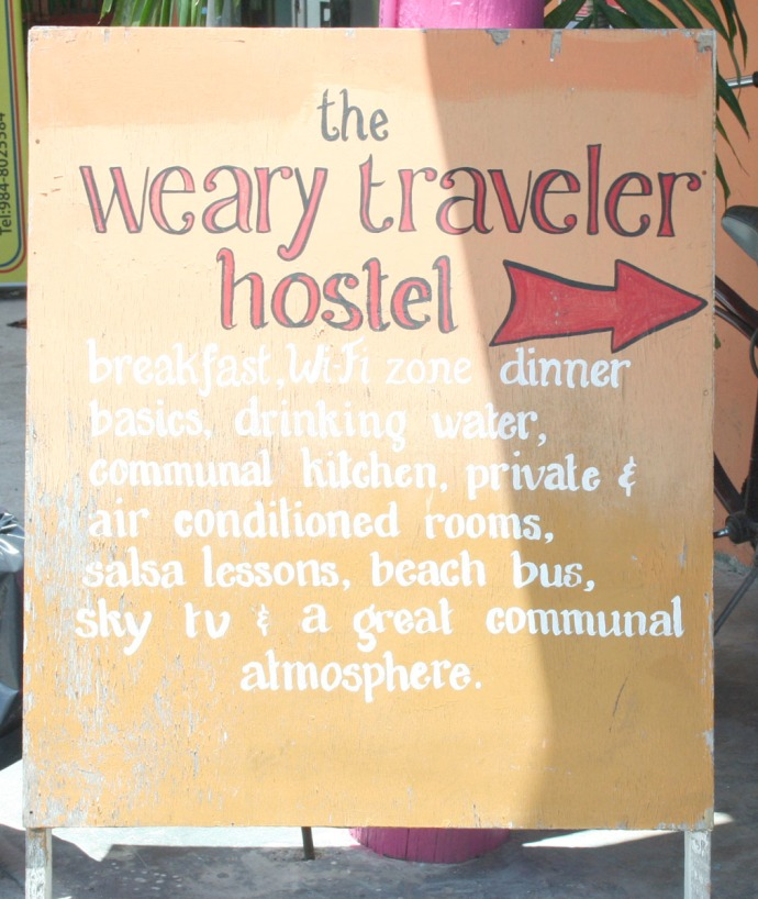 weary traveler sign