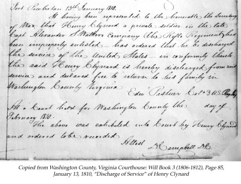 Henry Clinard:Clynard, 1810 discharge of service