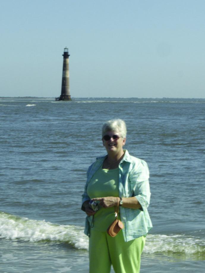 Mom and Folly Island lighthouse