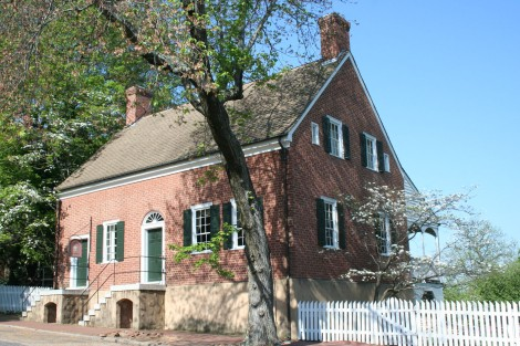Old Salem brick building side view