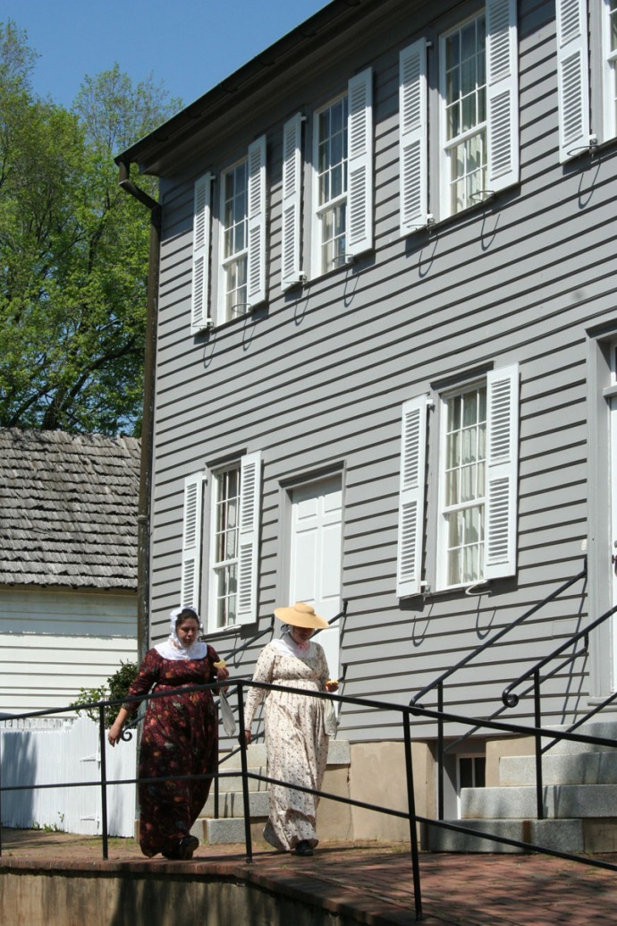 Old Salem ladies walking