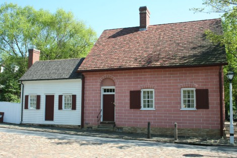 Old Salem pink & white building