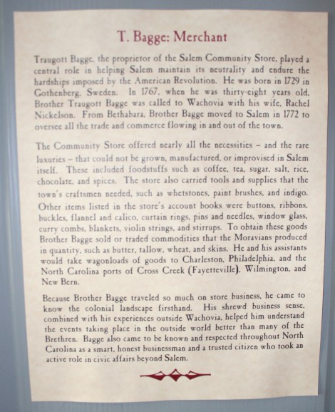 Old Salem T. Bagge info