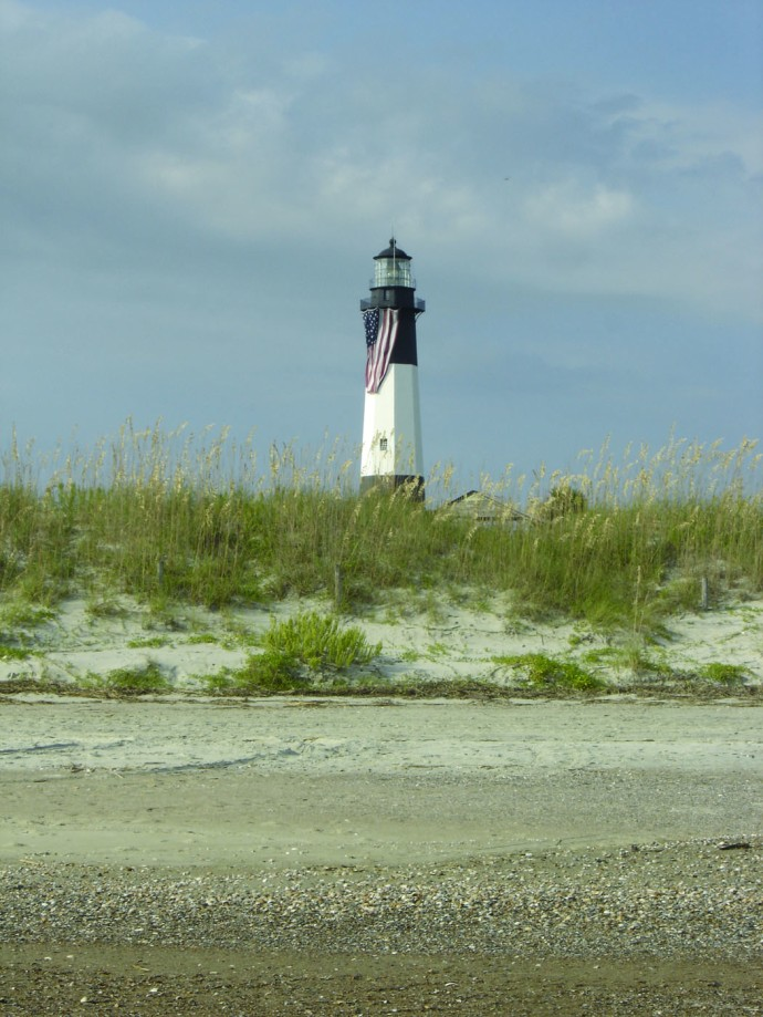 Tybee Island lighthouse from sand
