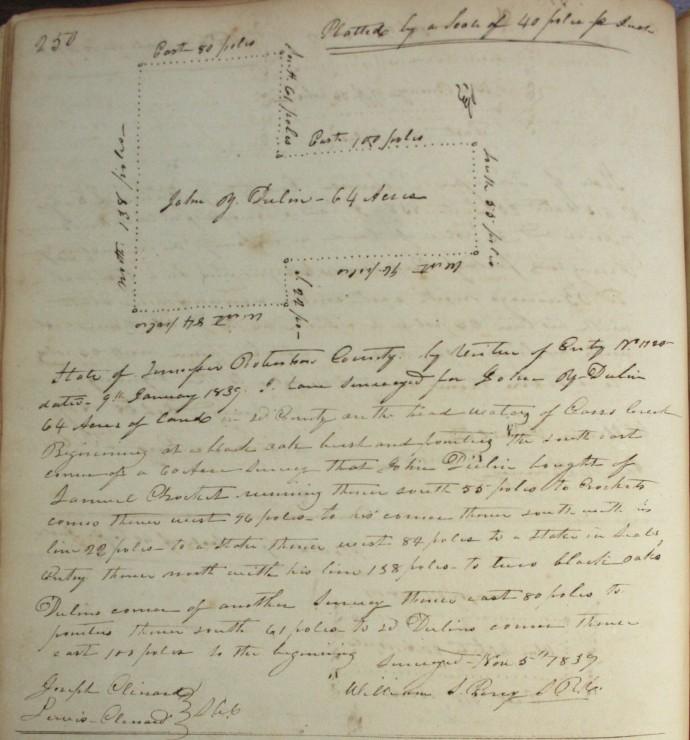 Dulin, John, 64 ac, 1839, Clinard cb