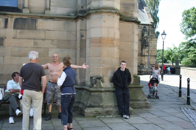 Eng-jim shirtless at Hexham abbey