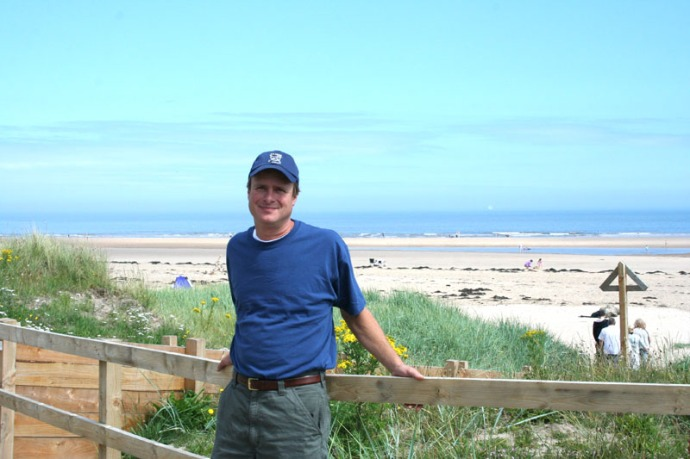 eng- wally leaning at alnmouth beach