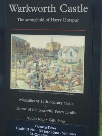 Eng, Warkworth Castle sign