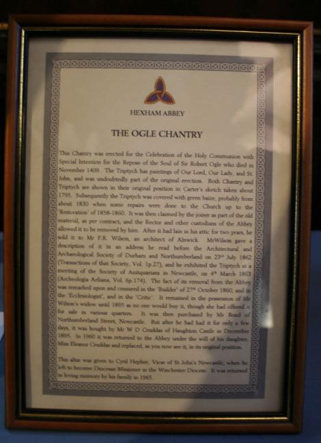hexham abbey, ogles chantry letter