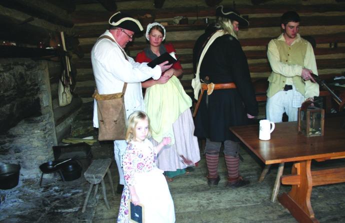 manskers, group in cabin, book:pistol