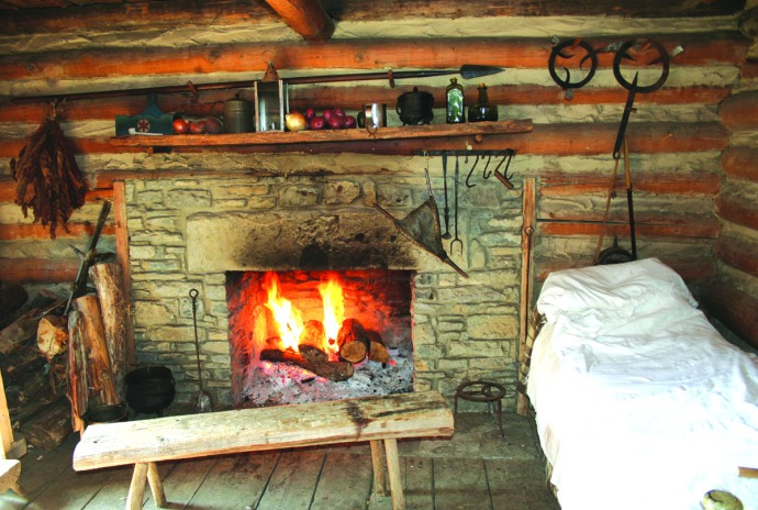 manskers, hearth & bed, fire, cabin