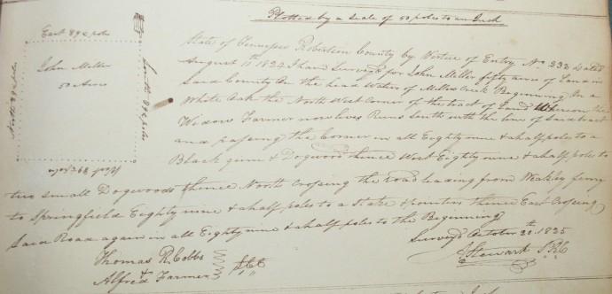 Miller, John, 50 acres, Millers cr, 1825 (2)