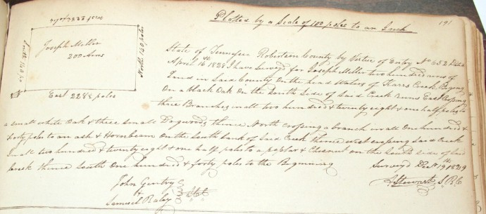 Miller, Joseph, 200 acres, p. 191, 1829