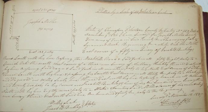 Miller, Joseph, 75 acres, pg. 153, 1827