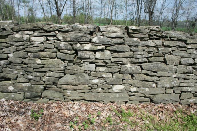 Villines Cemetery, stone wall