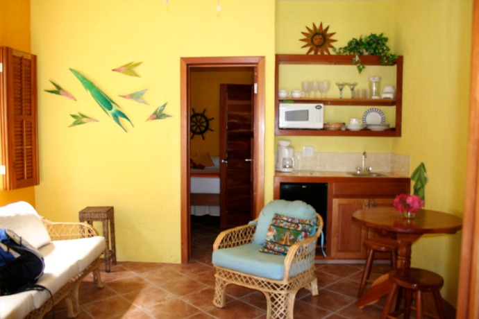 Belize, Caye Casa living room