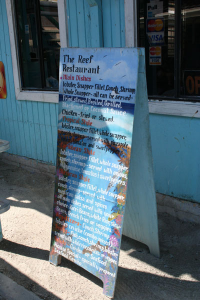 Belize, The Reef restaurant sign