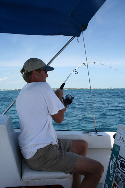 Belize, Wally catching barracuda