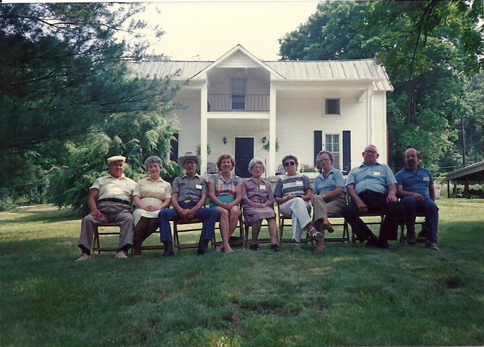 Clinard Reunion June 14, 1986.  Grandchildren of Cooney (Archibald) and Susan Emma Clinard and the only living child of Cooney and Susan Emma. Cooney homeplace