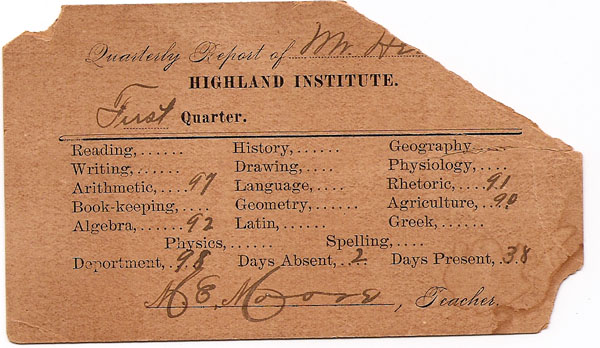 Jesse J. Head, Highland Inst. report 2