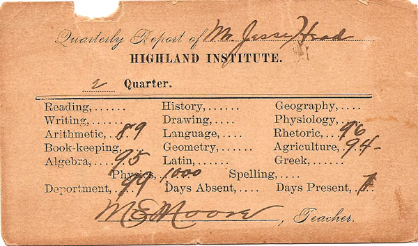 Jesse J. Head Highland Institute report 1