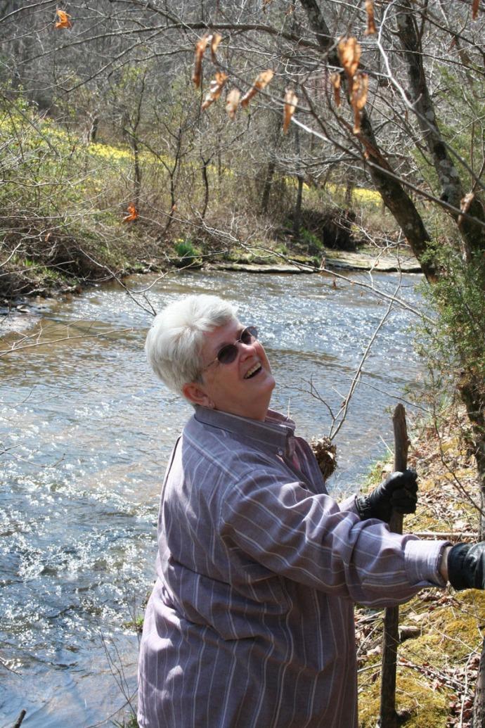 mom at creek
