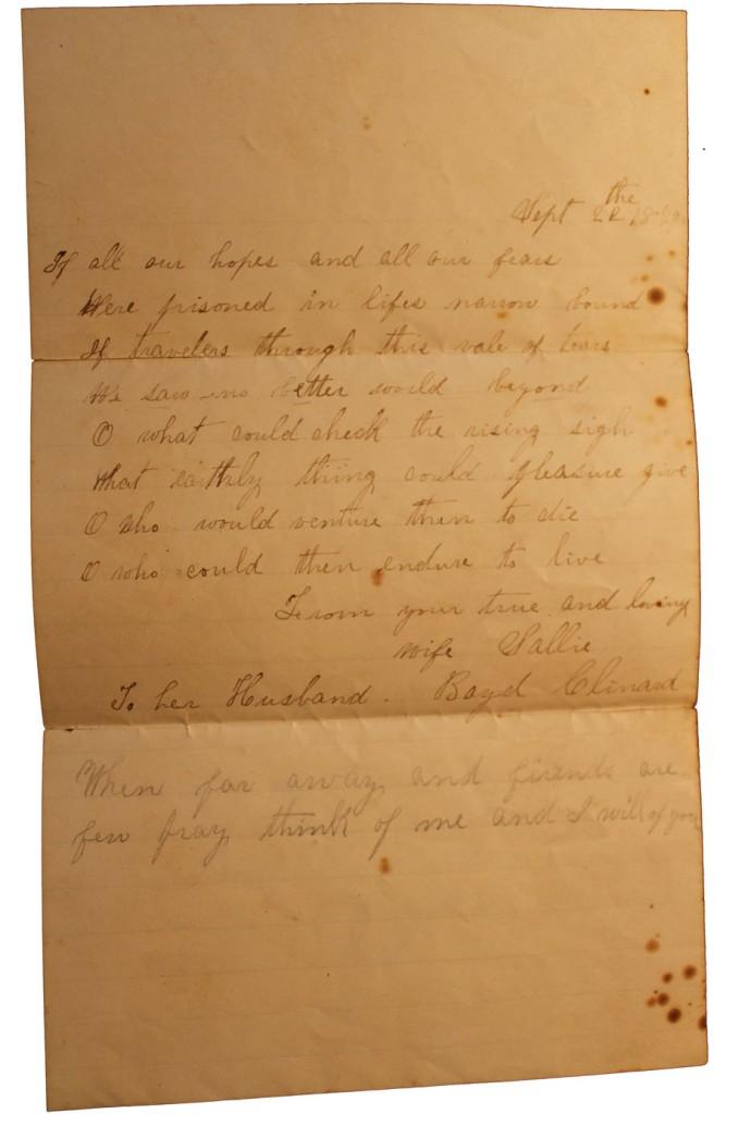 Sallie Wilkinson Clinard church letter 3