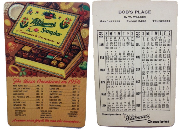 Bob's Place card, Whitman's candy front
