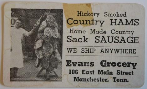 Evans Grocery ham card, Manchester, TN