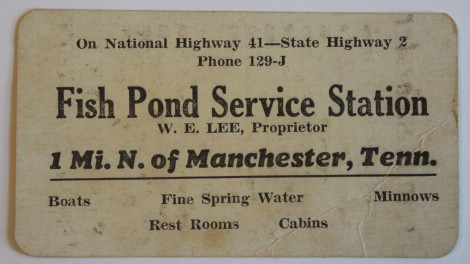 Fish Pond Serv Station card, Manchester