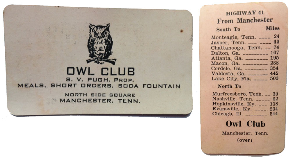 1940s manchester tn post cards business cards busybeetraveler owl club card front reheart Image collections