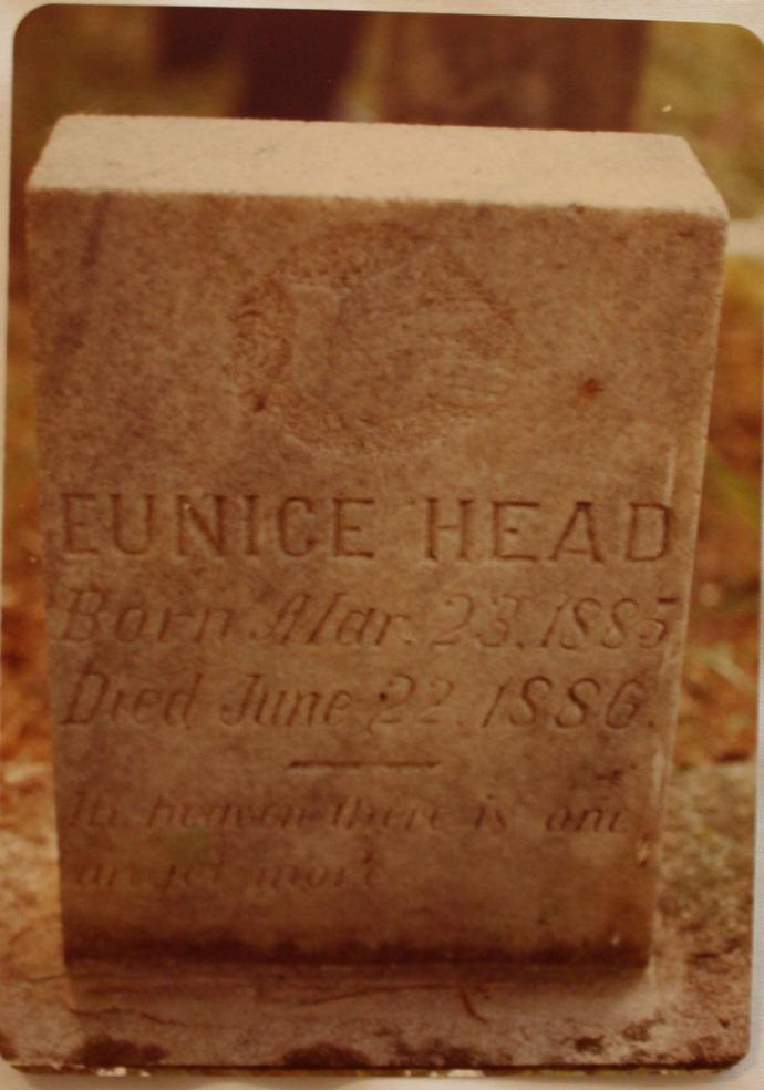Eunice Head headstone, 1885-86, Head Cemetery