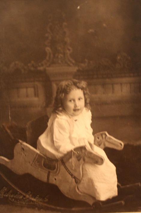 Rosa Elizabeth Head, girl, rocking horse