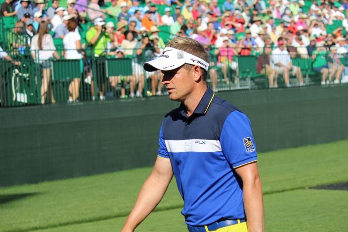 Masters blue shirt, visor