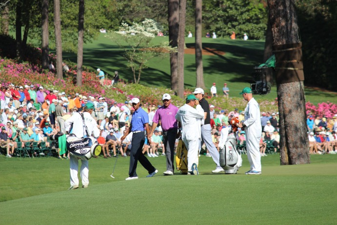 Masters Tiger & caddies, azaleas
