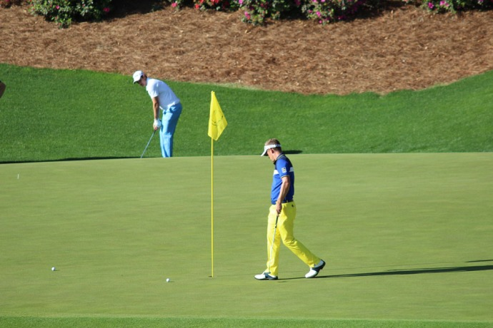 Masters yellow pants at flag